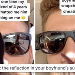 cheating boyfriend reflection, cheating boyfriend sunglasses, cheating boyfriend sunglasses reflection