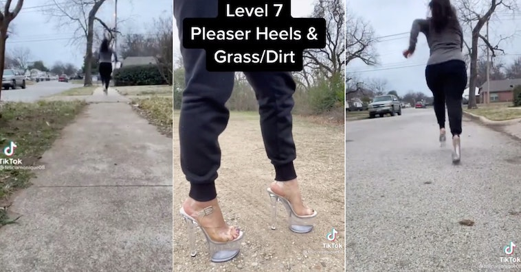 Woman Sprinting In Pleaser Heels Over Different Terrains Becomes Viral Sensation