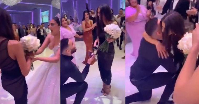 proposal at a wedding