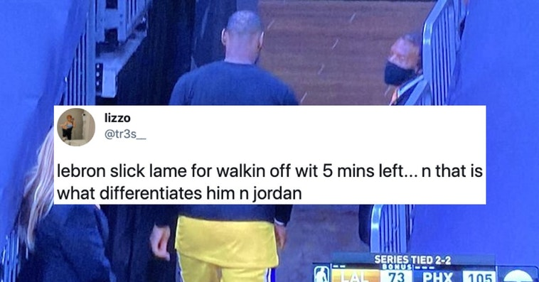 lebron james leaves game early