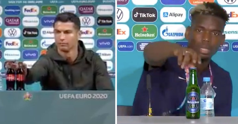 Cristiano Ronaldo Gets Rid Of 2 Coca-Cola Bottles, Then Paul Pogba Gets Rid Of Beer Bottle At Separate Press Conferences
